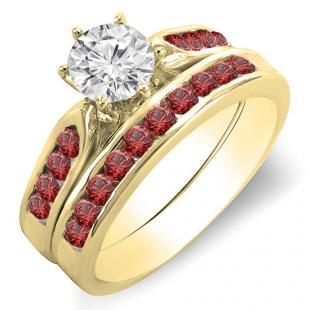 1.00 Carat (ctw) 18k Yellow Gold Round Red Ruby & White Diamond Ladies Bridal Engagement Ring Set With Matching Band 1 CT