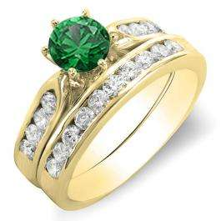 1.00 Carat (ctw) 14k Yellow Gold Round Green Emerald & Yellow Diamond Ladies Bridal Engagement Ring Set With Matching Band 1 CT