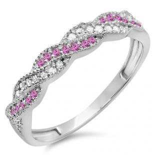 0.25 Carat (ctw) 10k White Gold Round White Diamond & Pink Sapphire Ladies Anniversary Wedding Stackable Band Swirl Ring 1/4 CT