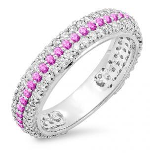 1.30 Carat (ctw) 14K White Gold Round White Diamond & Pink Sapphire Ladies Pave Set Anniversary Wedding Eternity Ring Band 1 1/3 CT