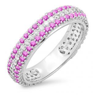 1.30 Carat (ctw) 10K White Gold Round White Diamond & Pink Sapphire Ladies Pave Set Anniversary Wedding Eternity Ring Band 1 1/3 CT