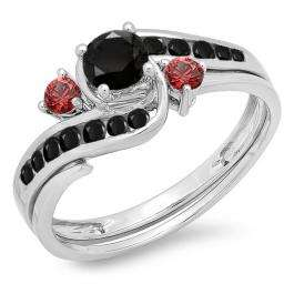 0.90 Carat (ctw) 14K White Gold Round Black Diamond & Ruby Side Stones Ladies Swirl Bridal Engagement Ring Matching Band Set