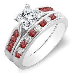 1.35 Carat (ctw) 18K White Gold Princess & Round Cut White Diamond & Ruby Ladies Bridal Engagement Ring Set With Matching Band