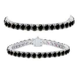 12.00 Carat (ctw) 10K White Gold Round Cut Real Black Diamond Ladies Tennis Bracelet 12 CT