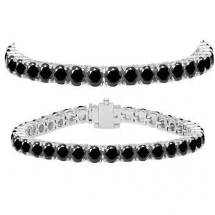 15.00 Carat (ctw) 10K White Gold Round Cut Real Black Diamond Ladies Tennis Bracelet 15 CT