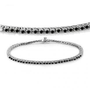 3.00 Carat (ctw) 14K White Gold Round Cut Real Black Diamond Ladies Tennis Bracelet 3 CT