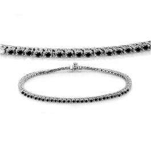 1.50 Carat (ctw) 14K White Gold Round Cut Real Black Diamond Ladies Tennis Bracelet 1 1/2 CT
