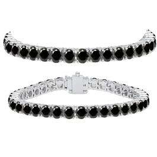 15.00 Carat (ctw) 18K White Gold Round Cut Real Black Diamond Ladies Tennis Bracelet 15 CT
