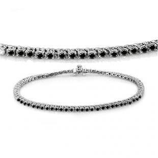 2.00 Carat (ctw) 18K White Gold Round Cut Real Black Diamond Ladies Tennis Bracelet 2 CT