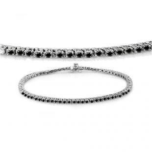 1.50 Carat (ctw) 18K White Gold Round Cut Real Black Diamond Ladies Tennis Bracelet 1 1/2 CT