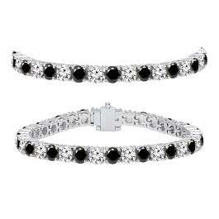 12.00 Carat (ctw) 10K White Gold Round Cut Real Black And White Diamond Ladies Tennis Bracelet 12 CT