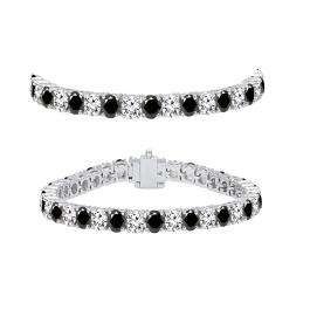 7.00 Carat (ctw) 10K White Gold Round Cut Real Black And White Diamond Ladies Tennis Bracelet 7 CT