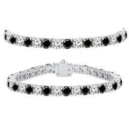 15.00 Carat (ctw) 14K White Gold Round Cut Real Black And White Diamond Ladies Tennis Bracelet 15 CT