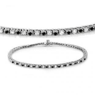 2.00 Carat (ctw) 14K White Gold Round Cut Real Black And White Diamond Ladies Tennis Bracelet 2 CT