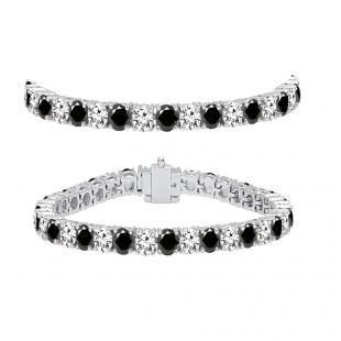 8.00 Carat (ctw) 14K White Gold Round Cut Real Black And White Diamond Ladies Tennis Bracelet 8 CT