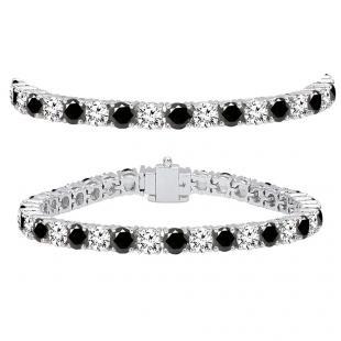 15.00 Carat (ctw) 18K White Gold Round Cut Real Black And White Diamond Ladies Tennis Bracelet 15 CT