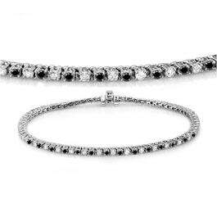 2.00 Carat (ctw) 18K White Gold Round Cut Real Black And White Diamond Ladies Tennis Bracelet 2 CT