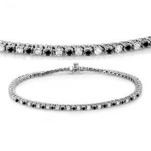 3.00 Carat (ctw) 18K White Gold Round Cut Real Black And White Diamond Ladies Tennis Bracelet 3 CT