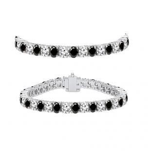 7.00 Carat (ctw) 18K White Gold Round Cut Real Black And White Diamond Ladies Tennis Bracelet 7 CT