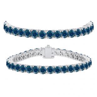 12.00 Carat (ctw) 10K White Gold Round Cut Real Blue Diamond Ladies Tennis Bracelet 12 CT