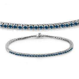 2.00 Carat (ctw) 10K White Gold Round Cut Real Blue Diamond Ladies Tennis Bracelet 2 CT