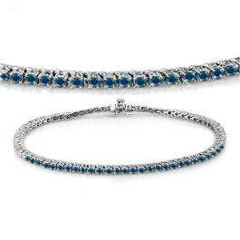 3.00 Carat (ctw) 10K White Gold Round Cut Real Blue Diamond Ladies Tennis Bracelet 3 CT