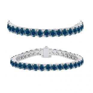 8.00 Carat (ctw) 10K White Gold Round Cut Real Blue Diamond Ladies Tennis Bracelet 8 CT