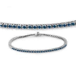 1.50 Carat (ctw) 10K White Gold Round Cut Real Blue Diamond Ladies Tennis Bracelet 1 1/2 CT
