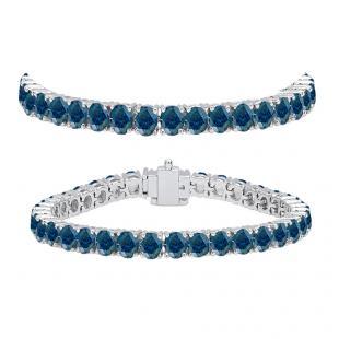 10.00 Carat (ctw) 14K White Gold Round Cut Real Blue Diamond Ladies Tennis Bracelet 10 CT