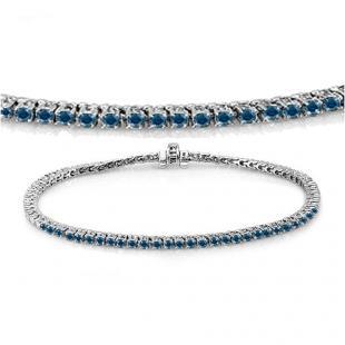 2.00 Carat (ctw) 14K White Gold Round Cut Real Blue Diamond Ladies Tennis Bracelet 2 CT