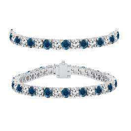 10.00 Carat (ctw) 10K White Gold Round Cut Real Blue And White Diamond Ladies Tennis Bracelet 10 CT