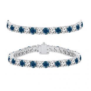10.00 Carat (ctw) 14K White Gold Round Cut Real Blue And White Diamond Ladies Tennis Bracelet 10 CT