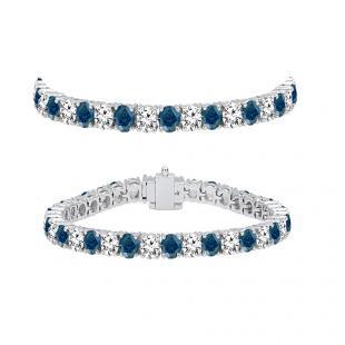7.00 Carat (ctw) 14K White Gold Round Cut Real Blue And White Diamond Ladies Tennis Bracelet 7 CT