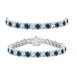 8.00 Carat (ctw) 14K White Gold Round Cut Real Blue And White Diamond Ladies Tennis Bracelet 8 CT