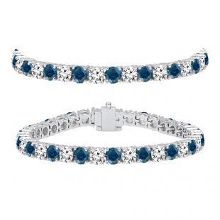 12.00 Carat (ctw) 18K White Gold Round Cut Real Blue And White Diamond Ladies Tennis Bracelet 12 CT