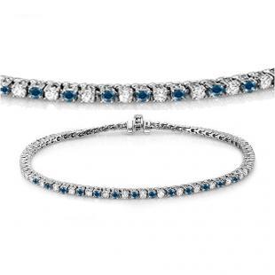 2.75 Carat (ctw) 18K White Gold Round Cut Real Blue And White Diamond Ladies Tennis Bracelet