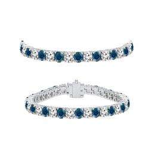 5.00 Carat (ctw) 18K White Gold Round Cut Real Blue And White Diamond Ladies Tennis Bracelet 5 CT