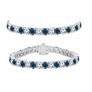 8.00 Carat (ctw) 18K White Gold Round Cut Real Blue And White Diamond Ladies Tennis Bracelet 8 CT