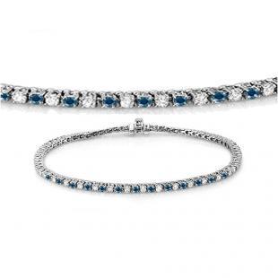1.50 Carat (ctw) 18K White Gold Round Cut Real Blue And White Diamond Ladies Tennis Bracelet 1 1/2 CT