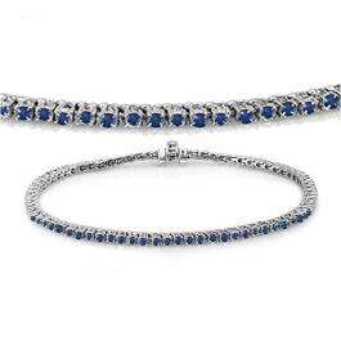 3.00 Carat (ctw) 10K White Gold Round Cut Real Blue Sapphire Ladies Tennis Bracelet 3 CT