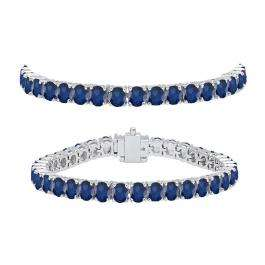 8.00 Carat (ctw) 10K White Gold Round Cut Real Blue Sapphire Ladies Tennis Bracelet 8 CT