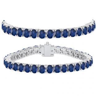 15.00 Carat (ctw) 14K White Gold Round Cut Real Blue Sapphire Ladies Tennis Bracelet 15 CT