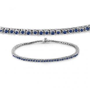 1.50 Carat (ctw) 14K White Gold Round Cut Real Blue Sapphire Ladies Tennis Bracelet 1 1/2 CT