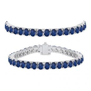 10.00 Carat (ctw) 18K White Gold Round Cut Real Blue Sapphire Ladies Tennis Bracelet 10 CT