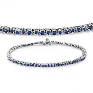 2.00 Carat (ctw) 18K White Gold Round Cut Real Blue Sapphire Ladies Tennis Bracelet 2 CT