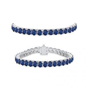 5.00 Carat (ctw) 18K White Gold Round Cut Real Blue Sapphire Ladies Tennis Bracelet 5 CT