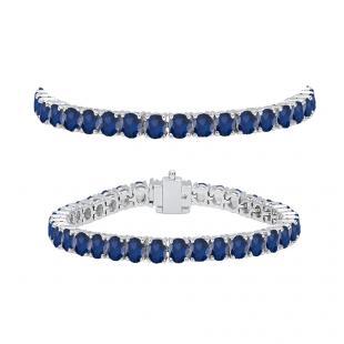 7.00 Carat (ctw) 18K White Gold Round Cut Real Blue Sapphire Ladies Tennis Bracelet 7 CT
