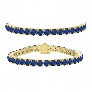 10.00 Carat (Ctw) Round Cut Real Blue Sapphire Ladies Tennis Bracelet 10 CT, 18K Yellow Gold