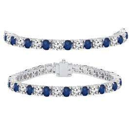 15.00 Carat (ctw) 10K White Gold Round Real Blue Sapphire & White Diamond Ladies Tennis Bracelet 15 CT