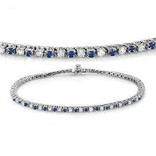 2.00 Carat (ctw) 10K White Gold Round Real Blue Sapphire & White Diamond Ladies Tennis Bracelet 2 CT